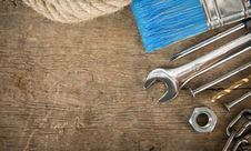 Tools And Instruments On Wood Stock Photo