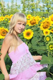 Free A Girl Among Sunflowers Field Stock Photos - 20708473