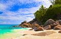 Free Tropical Beach At Island Praslin, Seychelles Stock Photo - 20717910