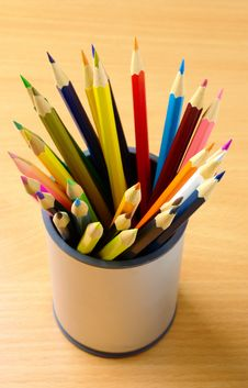 Pencils In Plastic Cup Stock Photo