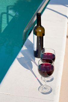 Bottle And Glasses With Red Wine Outdoor Stock Photos