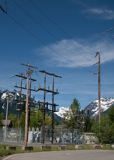 High Mountain Substation Royalty Free Stock Photography