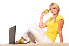 Free Girl With Laptop Stock Image - 20714651