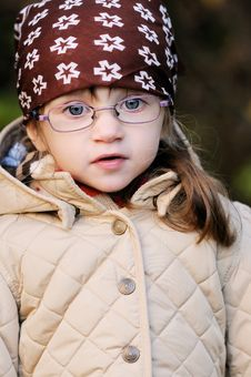 Free Portrait Of Adorable Toddler Girl Wearing Kerchief Stock Image - 20715181