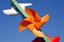 Free Paper Windmills On Sky Background Royalty Free Stock Image - 20717496