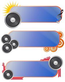Free Set Loudspeaker Audio Banner Stock Photography - 20723212