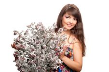 Free Woman With A Bouquet Of Artificial Flowers Royalty Free Stock Photography - 20724277