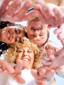 Free Below View Of Family Members Head By Head Stock Images - 20725394