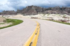 Road Through The Badlands National Park Royalty Free Stock Photo