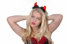 Free Sexy Blond Girl  In Lengerie With Devils  Horne Stock Photography - 20726192