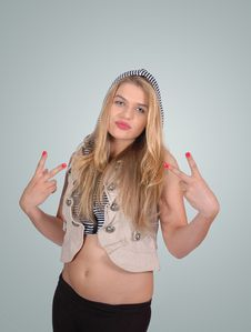 Free Hip Blonde Girl  Showing The Peace Sign Stock Image - 20726201