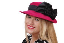 Smiling Girl With Red Hat Stock Photos