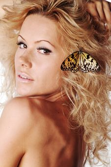 Free Woman And Butterfly Stock Photo - 20726490