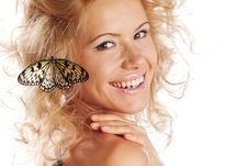Free Woman And Butterfly Stock Photos - 20726503