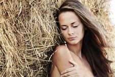 Free Portrait Of A Girl Next To Haystack Stock Photos - 20726593