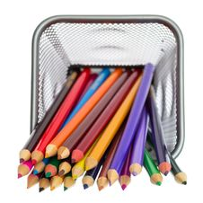 Color Pencils In Pencil Holders Royalty Free Stock Photo