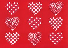 Tic-Tac-Toe Red Hearts Art Royalty Free Stock Photography