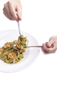 Tagliatelle With Shrimps,herbs And Olive Oil