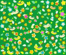 Free Cartoon Birds On Green Floral Background Stock Images - 20728454