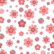Seamless Pattern With Coral Flowers Royalty Free Stock Photo