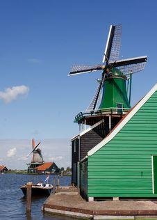 Green Windmills Stock Photos