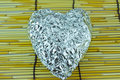 Free Silver Heart On Bamboo Blind Royalty Free Stock Images - 20737999