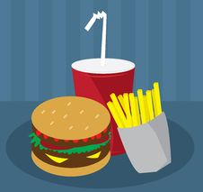 Free Hamburger Fries And Drink Royalty Free Stock Images - 20730529