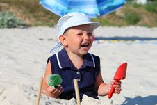 The Kid At The Beach Royalty Free Stock Image