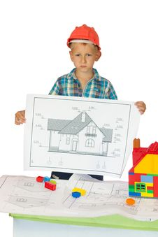 Free Boy In Orange Helmet  With House Drawing Royalty Free Stock Image - 20732026