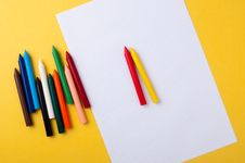 Drawing Paper And Crayons Royalty Free Stock Images
