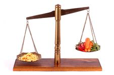 Tablets And Vegetables A Brass Scale Stock Image