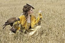 The Woman With Falcon Has A Rest Royalty Free Stock Photos