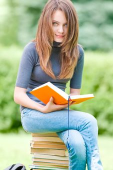 Free Happy Student Girl Sitting On Pile Of Books Stock Photos - 20733993
