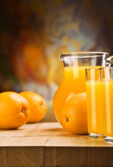Oranges And Juice Of Oranges Stock Image
