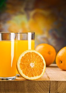 Oranges And Juice Stock Photography