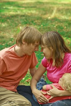 Family Love In Summer Nature Stock Photo