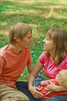 Loving Family In Summer Nature Stock Photography