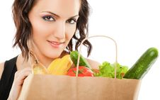 Free Female Recycled Grocery Bag Royalty Free Stock Images - 20734409
