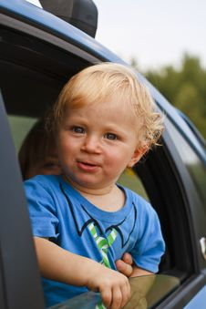 Free Happy Baby Looking From The Car Window Royalty Free Stock Photo - 20735025