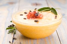 Fresh Melon Soup With Parma Ham And Lavender Royalty Free Stock Photography