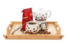 Free Coffee Pot With Cup, Red Bag On Wooden Tray Stock Photography - 20735232