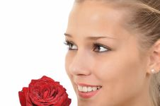 Free Young Woman With Rose Full Of Water Drops Stock Photography - 20735532
