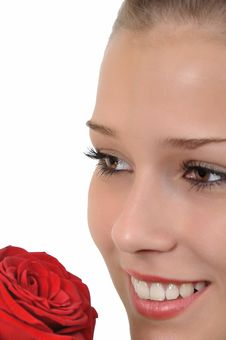Free Young Woman With Red Rose Looks Dreamy Royalty Free Stock Photography - 20735777