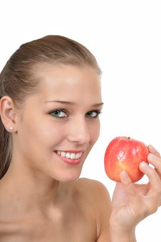 Woman With Green Eyes Holding An Apple Stock Photos