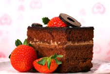 Chocolate Cake With Strawberries. Royalty Free Stock Photography