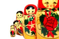 Russian Dolls With Two Standing Out Stock Images