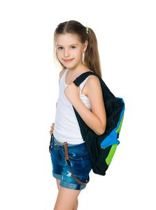 Cute Schoolchild With Knapsack Stock Photo