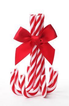 Free Candy Canes Tied With Ribbon Bow Stock Image - 20739311
