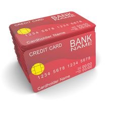 Free A Stack Of Red Credit Card Stock Photo - 20739450