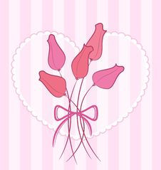 Free Vector Card With A Bouquet Of Cute Roses Royalty Free Stock Image - 20739686
